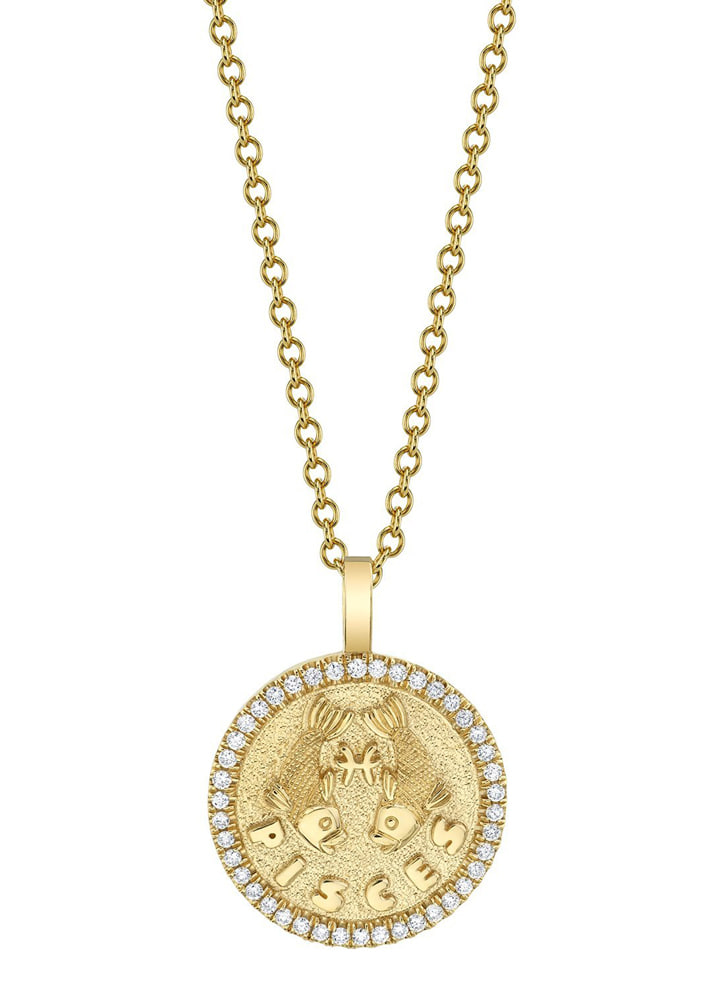 ANITA KO _ Small Zodiac Coin Pendant With Diamond Frame